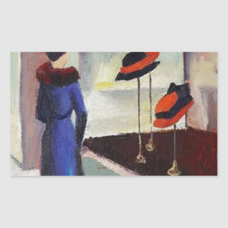 Hat Shop - August Macke Rectangular Sticker