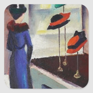 Hat Shop - August Macke Square Sticker
