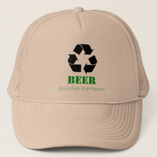Hat with funny beer recycling saying