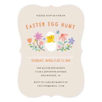 """Hatched Easter Egg Hunt Invitation - Beige 5"""" X 7"""" Invitation Card"""