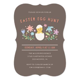 "Hatched Easter Egg Hunt Invitation - Chocolate 5"" X 7"" Invitation Card"