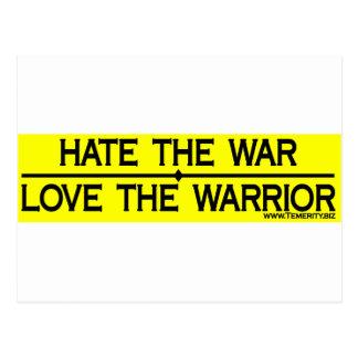HATE THE WAR LOVE THE WARRIOR POSTCARD