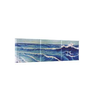 Hatō Zu Waves - Uehara Konen. Japanese Woodblock Stretched Canvas Prints