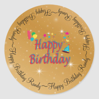 Hats Balloons Stars Streamers Festive Birthday Fun Classic Round Sticker