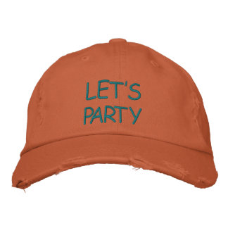 HATS CUSTOM  EMBROIDERED DESIGN LET'S PARTY EMBROIDERED CAP