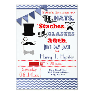 Hats, Mustaches, and Glasses 30th Birthday Invite