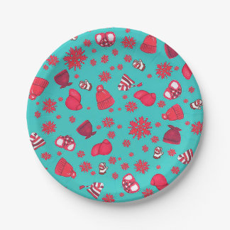 Hats 'n Snowflakes Paper Plates 7 Inch Paper Plate