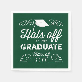 Hats Off EDITABLE COLOR Graduation Napkins Disposable Napkins