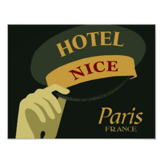 Hats off for a Nice Hotel Paris France retro style Poster
