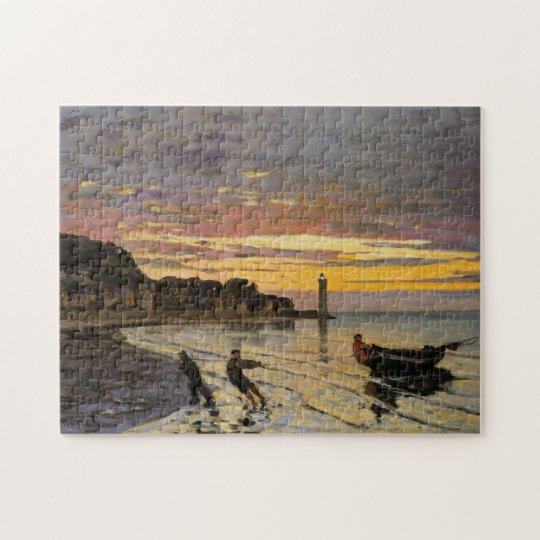 Hauling Boat Ashore Honfleur Monet Fine Art Jigsaw Puzzle