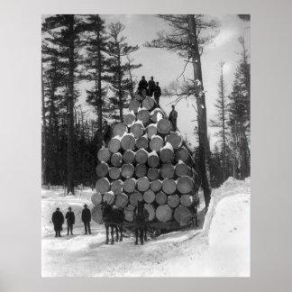 Hauling Logs in Michigan, 1890s Poster