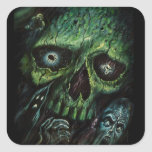Haunted Attraction Skulls Ghosts Vintage Square Stickers