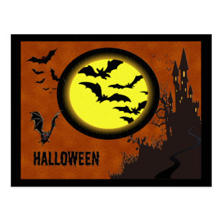 Haunted Castle, Bats and Yellow Moon Postcard