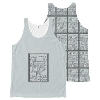 Haunted Castle Black Line Art Design All-Over Print Singlet