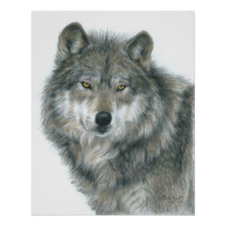 """Haunted Eyes"" Wolf Poster by Artist Carla Kurt"