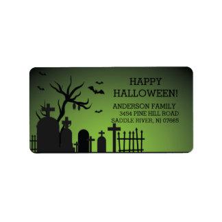 Haunted Graveyard Happy Halloween Return Address Address Label