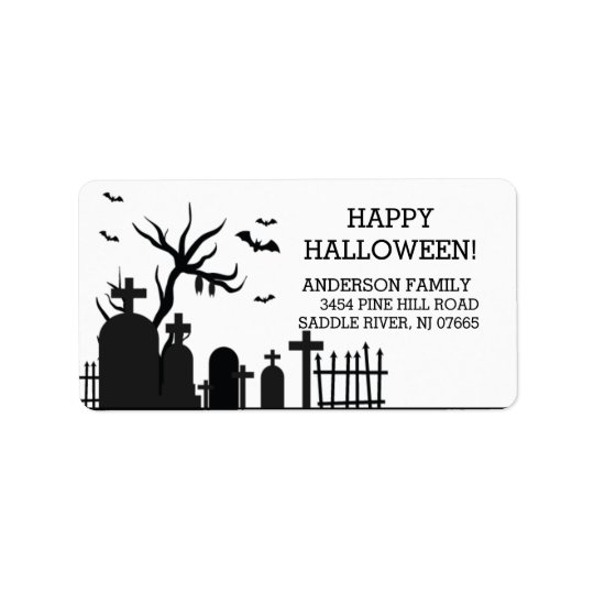 Haunted Graveyard Happy Halloween Return Address Label