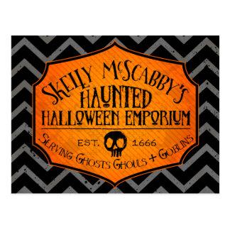 Haunted Halloween Emporium Grey & Black Postccard Postcard