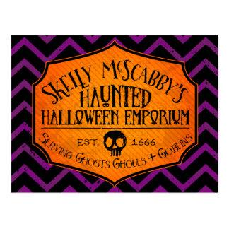 Haunted Halloween Emporium on Violet Postccard Postcard