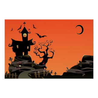 Haunted Halloween House Poster