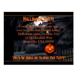 Haunted Halloween Party Invitation Postcard
