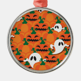 Haunted Halloween Pumpkin Patch Ghosts Silver-Colored Round Decoration