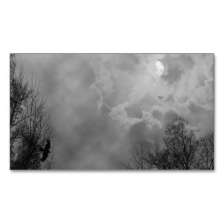 Haunted Halloween Sky with Ravens Magnetic Business Cards
