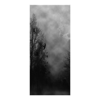 Haunted Halloween Sky with Ravens Rack Card Design
