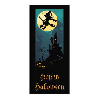 Haunted House and Witch Silhouette Bookmarks Full Color Rack Card