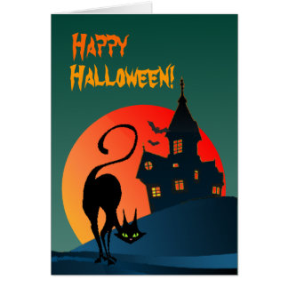 HAUNTED HOUSE & BLACK CAT by SHARON SHARPE Card
