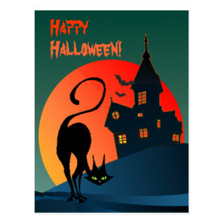 HAUNTED HOUSE & CAT by SHARON SHARPE Postcard