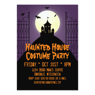 Haunted House Costume Party Halloween 13 Cm X 18 Cm Invitation Card