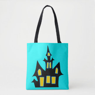 Haunted House Customizable Blue Tote Bag