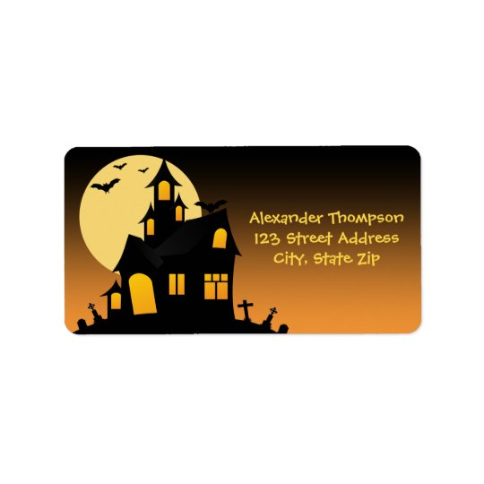 Haunted House Halloween Address Label