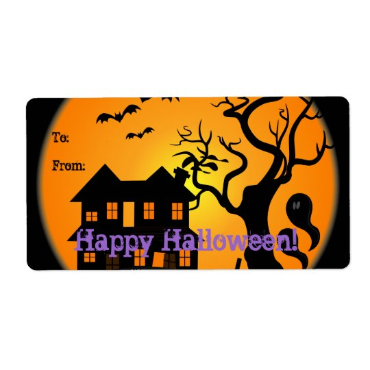 Haunted House Halloween Gift Tag Avery Label Shipping Label