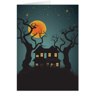 Haunted House Halloween Greeting Card