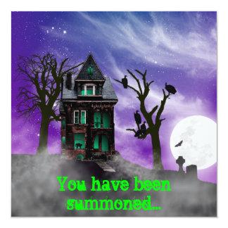 "Haunted House Halloween Invitation 5.25"" Square Invitation Card"