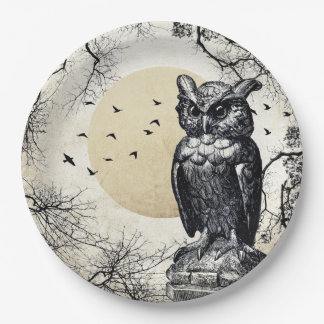 Haunted House Halloween Owl Paper Plate