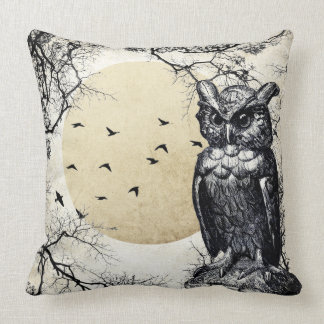 Haunted House Halloween Owl Pillow