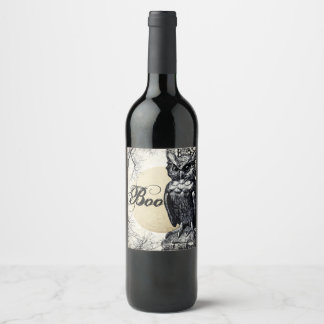 Haunted House Halloween Owl Wine Label