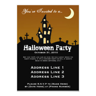 "Haunted House Halloween Party Invitation 5"" X 7"" Invitation Card"