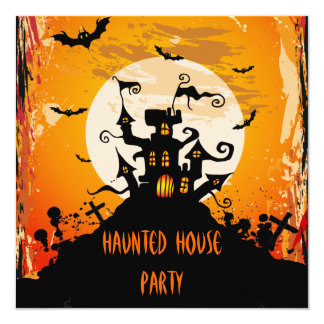 """Haunted House Halloween Party 5.25"""" Square Invitation Card"""