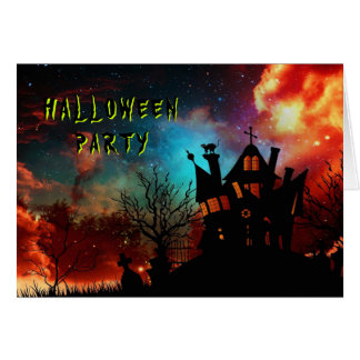 Haunted House Halloween Party Note Card