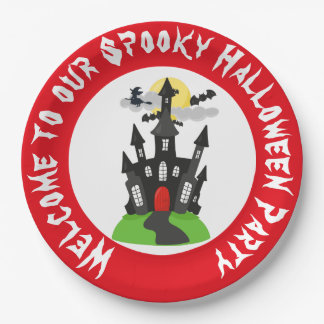 Haunted House Halloween Party Paper Plate