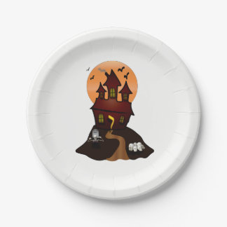 Haunted House Halloween Party Paper Plates