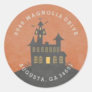 Haunted House Halloween Return Address Label Round Sticker