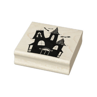Haunted House Halloween Rubber Art Stamp
