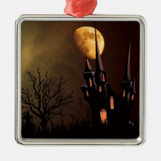 Haunted House Halloween Scene Silver-Colored Square Decoration