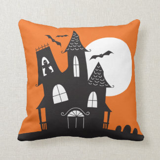 Haunted House Halloween Throw Pillow