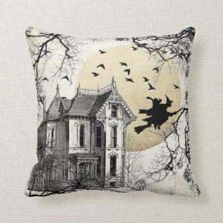 Haunted House Halloween Witch Pillow